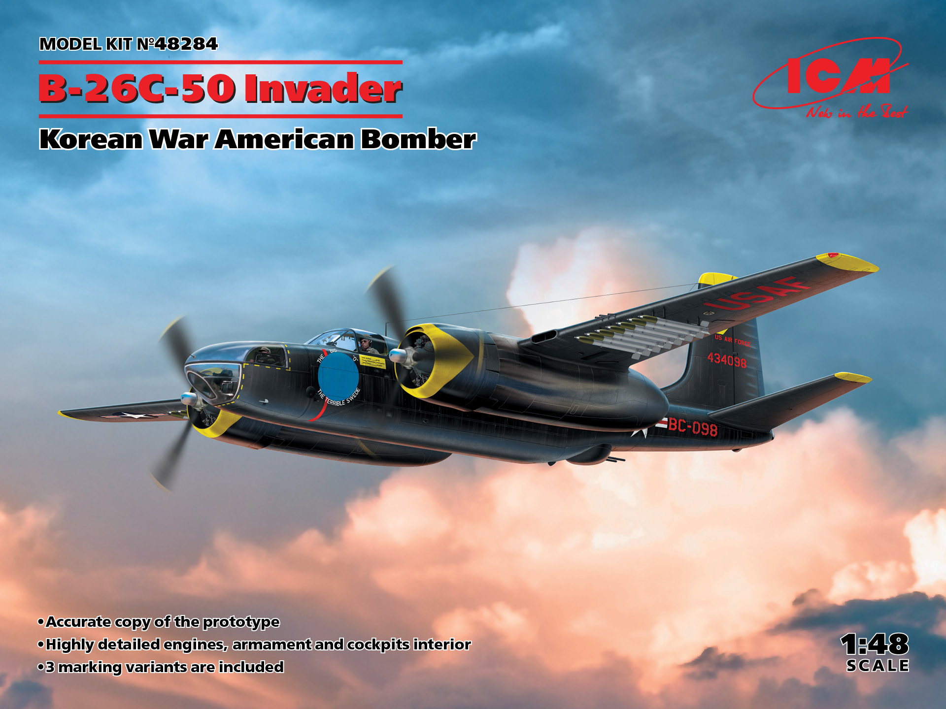 ICM B-26C-50 Invader, Korean War American Bomber 1/48 Scale