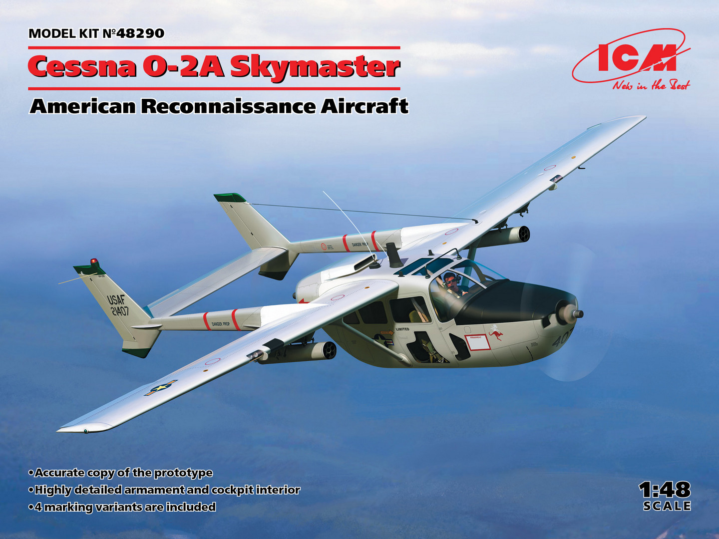 ICM Cessna O-2A Skymaster, American Reconnaissance Aircraft 1/48 Scale, New Molds