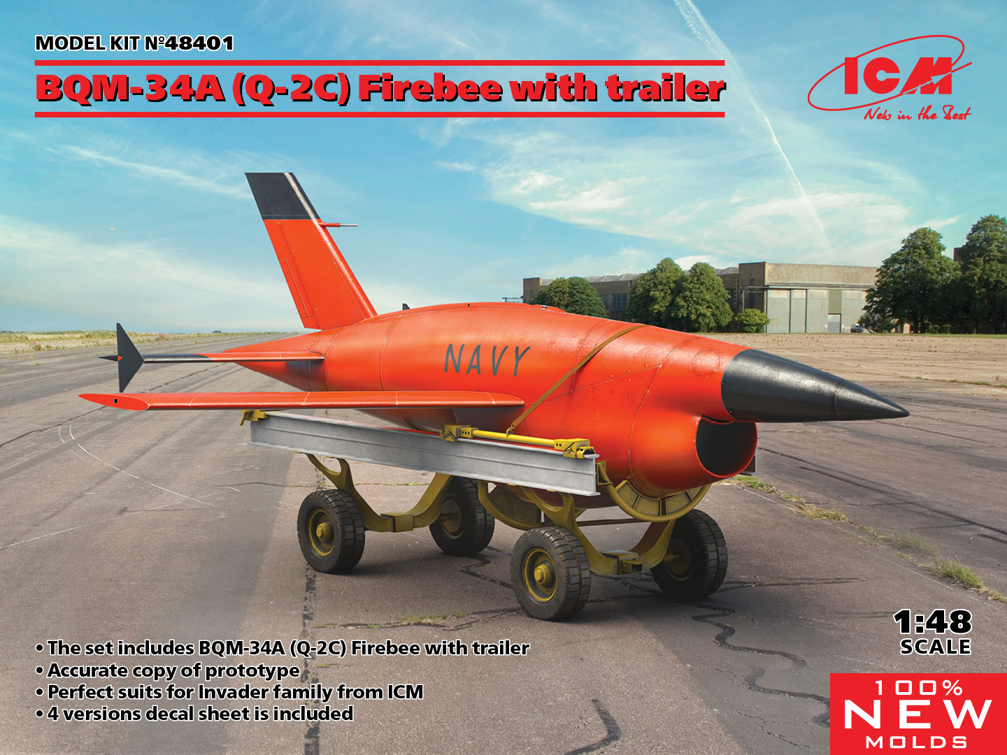 ICM 1/48 BQM-34A (Q-2C) Firebee with trailer (1 airplane and trailer)