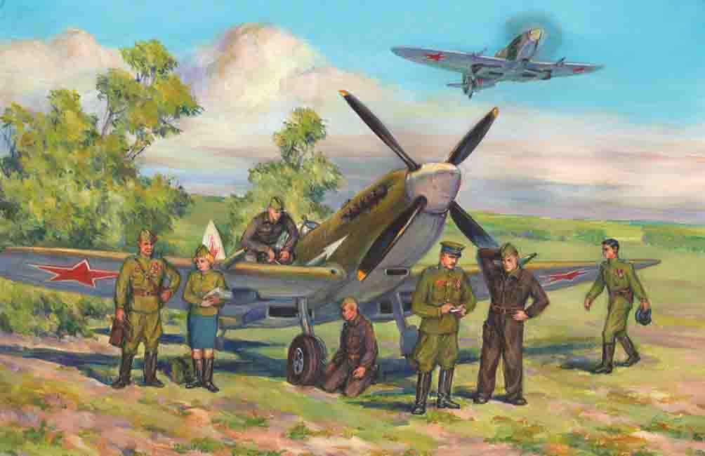 ICM Spitfire LF.IXE with Soviet Pilots and Ground Personnel