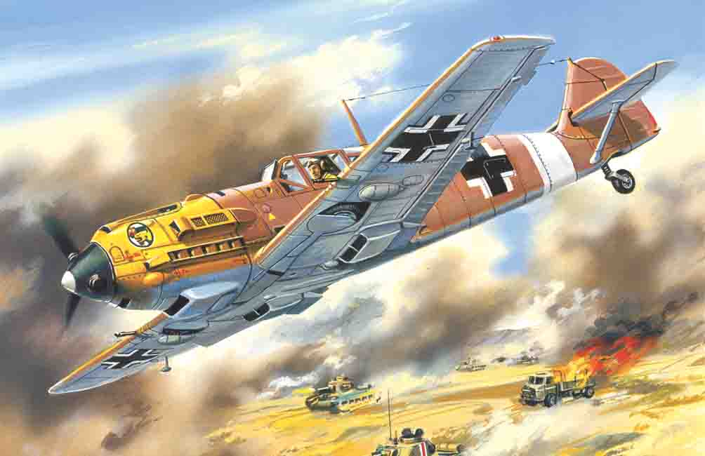 ICM Messerschmitt Bf 109E-7/Trop, WWII German Fighter
