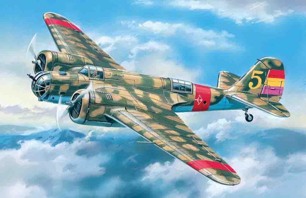 """ICM 1/72  SB 2M-100 """"Katiushka"""", Spanish Air Force Bomber"""
