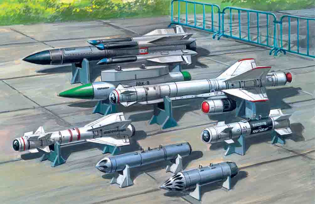 ICM Soviet Air-to-Surface Aircraft Armament (X-29T, X-31P, X-59M missiles, B-13L, B-8M1 rocket containers, KAB-500Kr bombs)