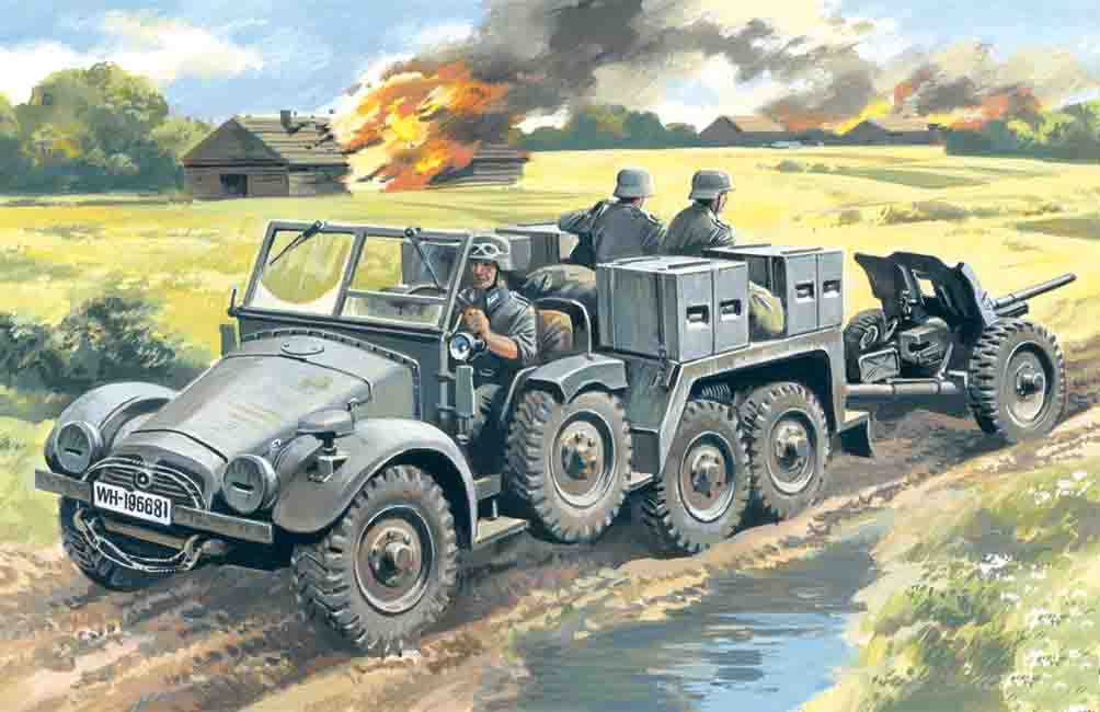ICM Krupp L2H143 Kfz.69 with Pak 36, German Artillery Tractor
