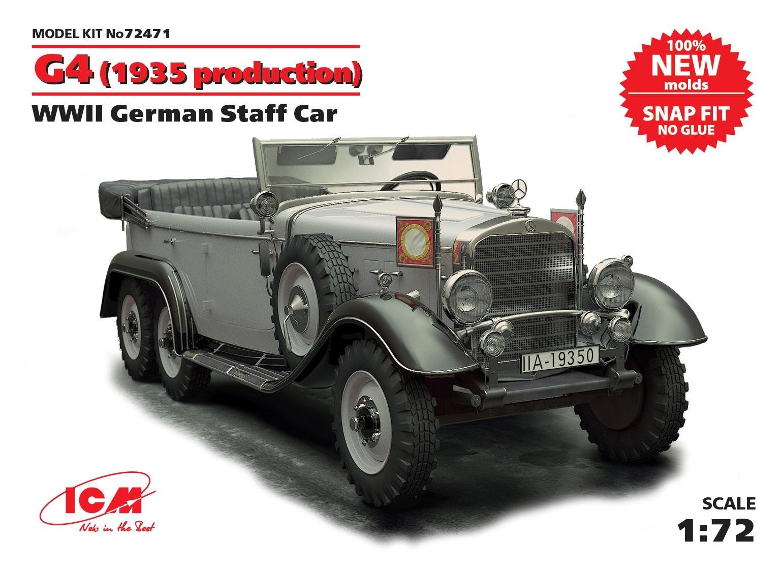 ICM G4 (1935 production), WWII German Staff Car,  snap fit/no glue