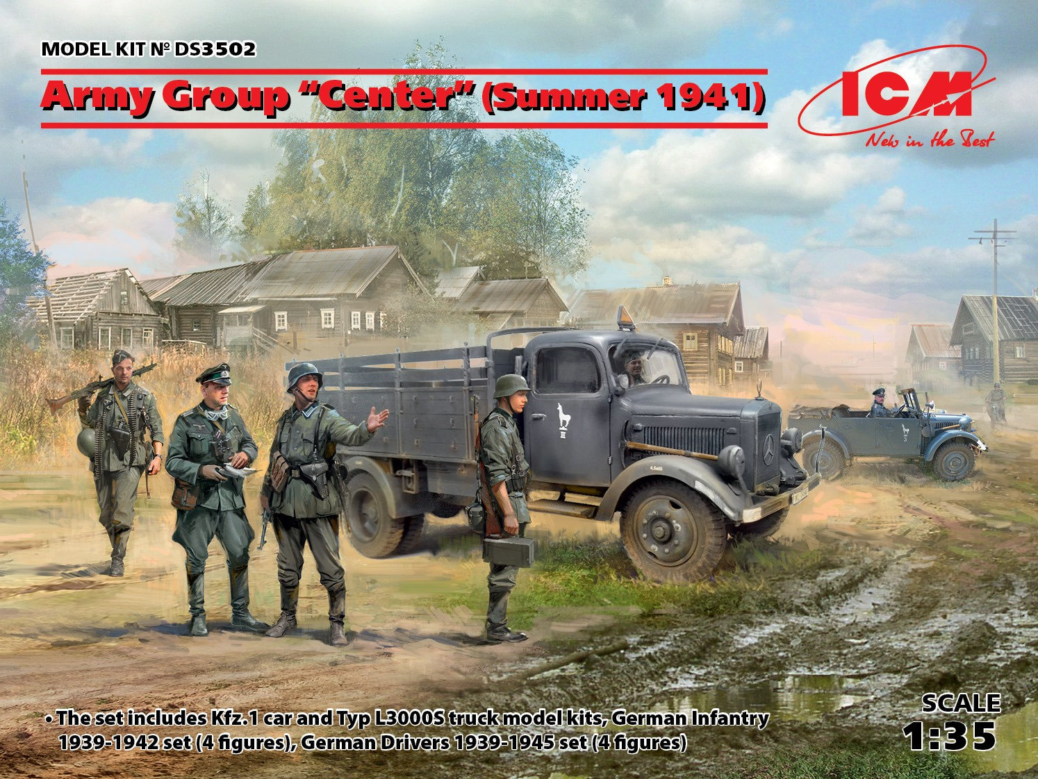 "ICM Army Group ""Center"" (Summer 1941)   (Kfz.1, Typ L3000S, German Infantry (4 figures), German Drivers (4 figures))"