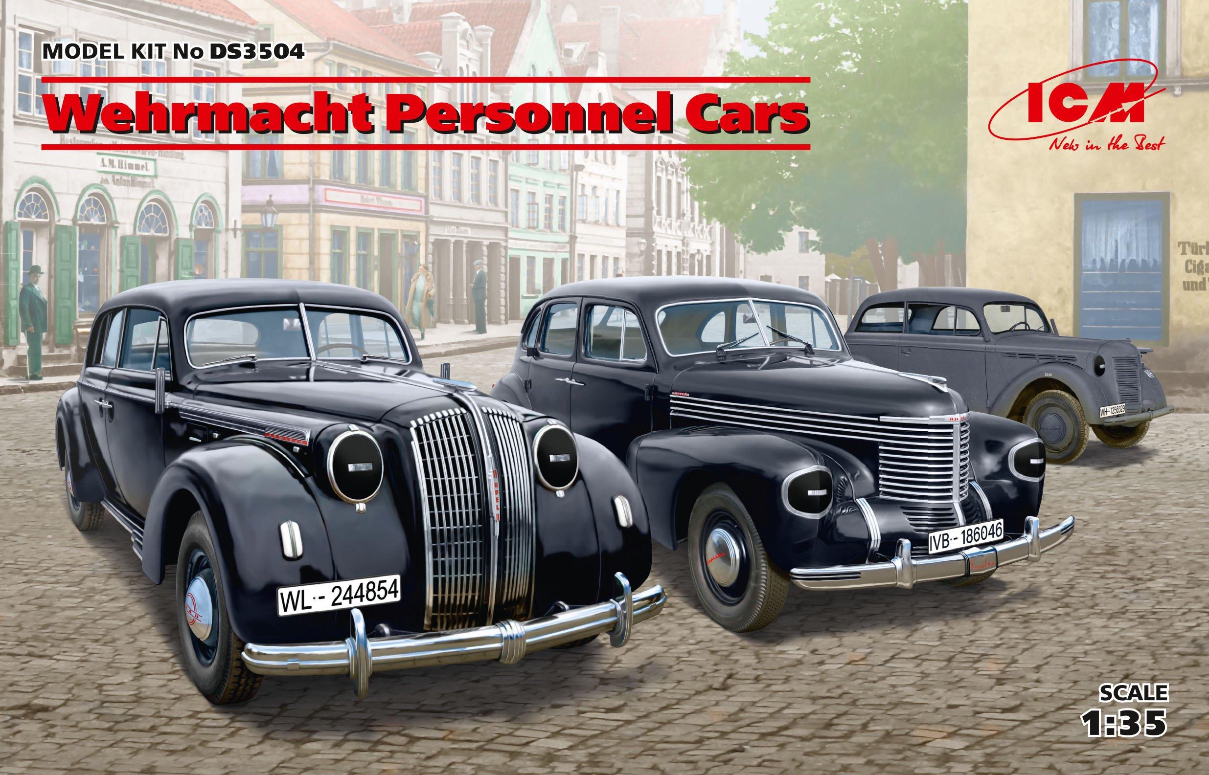ICM Wehrmacht Personnel Cars   (Kadett K38 Saloon, Kapitan Saloon, Admiral Saloon)