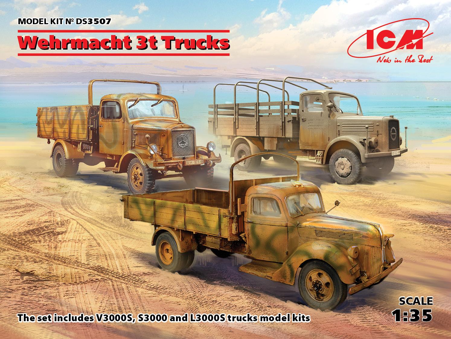 ICM 1/35 Wehrmacht 3t Trucks (V3000S, KHD S3000, L3000S)