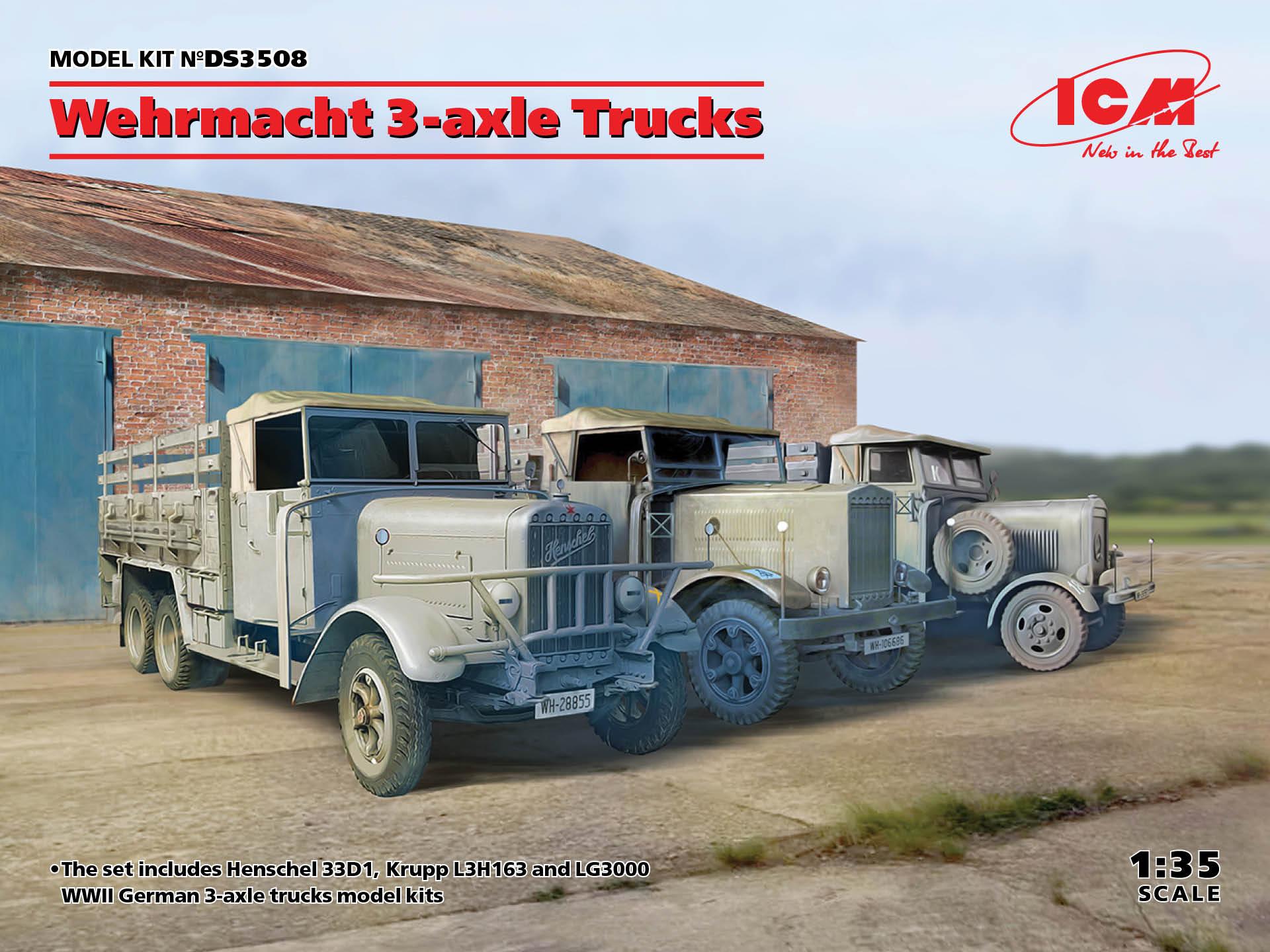 ICM 1/35 Wehrmacht 3-axle Trucks (Henschel 33D1, Krupp L3H163, LG3000)