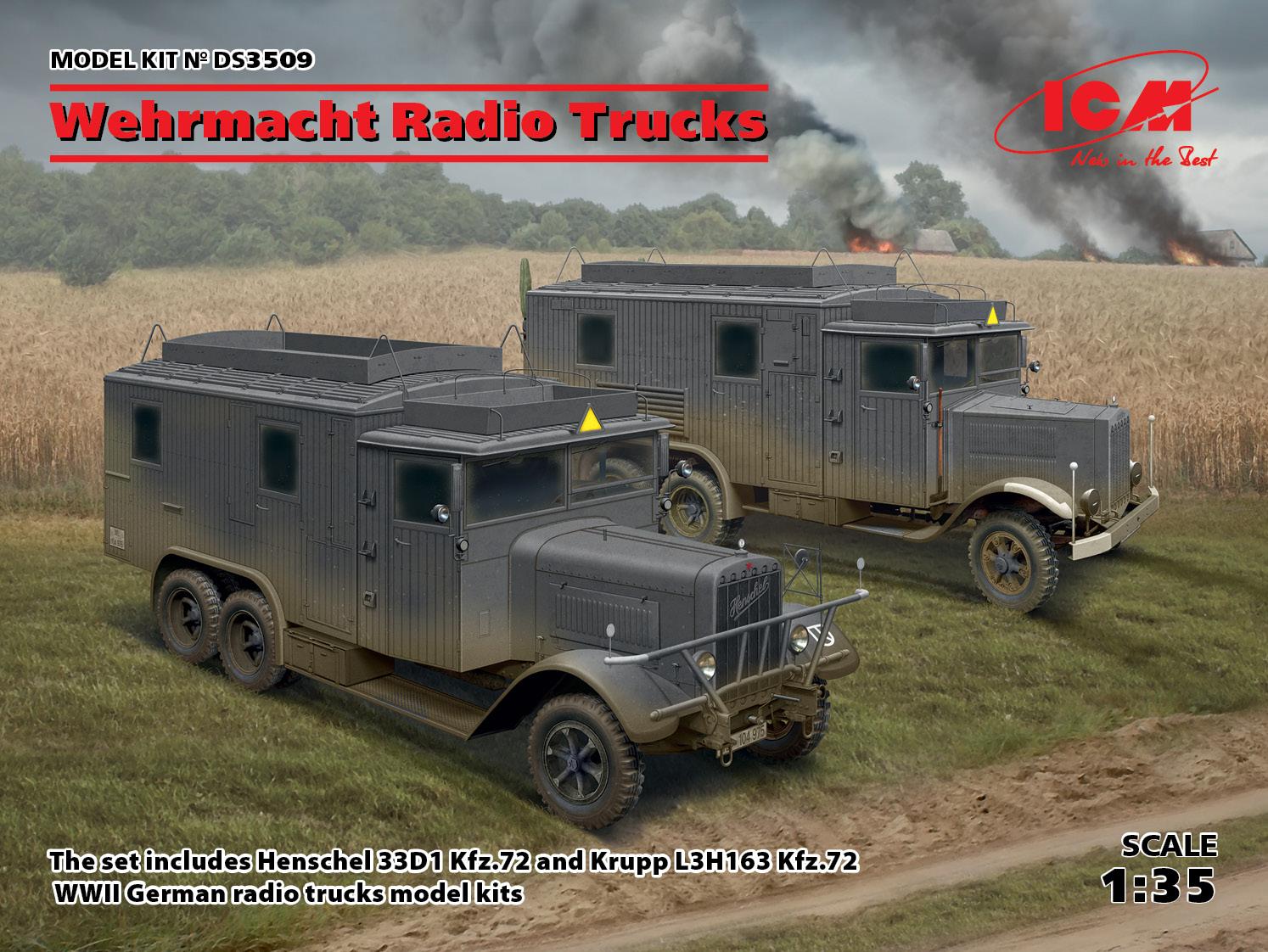ICM 1/35 Wehrmacht Radio Trucks (Henschel 33D1 Kfz.72, Krupp L3H163 Kfz.72)