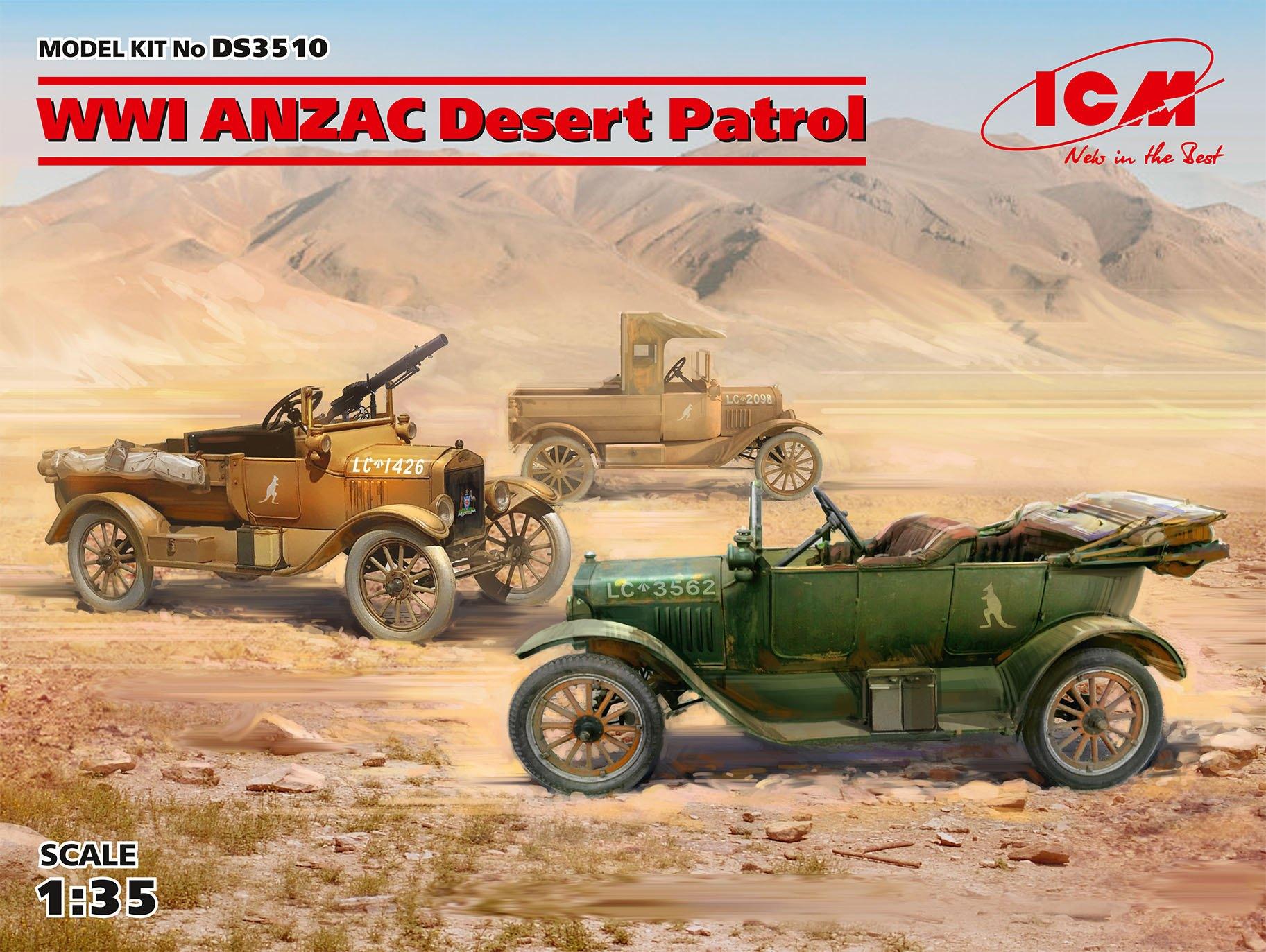 ICM WWI ANZAC Desert Patrol (Model T LCP, Utility, Touring)