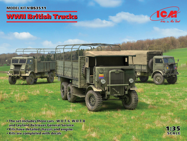 ICM 1/35 WWII British Trucks (Model W.O.T. 6, Model W.O.T. 8, Leyland Retriever General Service)