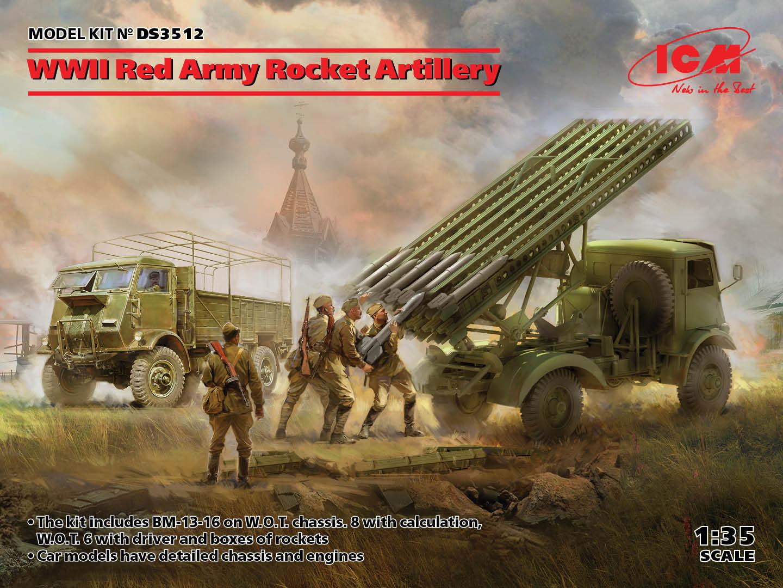 ICM 1/35 WWII Red Army Rocket Artillery (BM-13-16 on W.O.T. 8 chassis, Model W.O.T. 6, WWII Soviet BM-13-16 MLRS Vehicle Crew, RKKA Drivers (1943-1945))