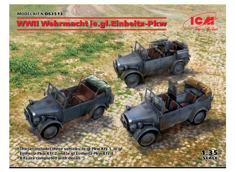 ICM 1/35 WWII Wehrmacht le.gl.Einheitz-Pkw (le.gl.Pkw Kfz.1, le.gl.Einheitz-Pkw Kfz.2, le.gl.Einheitz-Pkw Kfz.4)