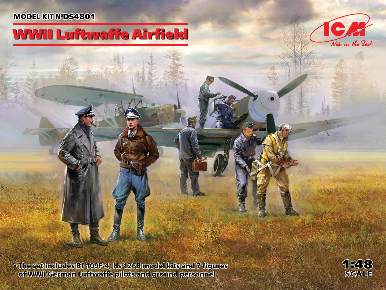 ICM 1/48 WWII Luftwaffe Airfield - Messerschmitt Bf 109F-4, Hs 126 B-1, German Luftwaffe Pilots and Ground Personnel (7 figures)