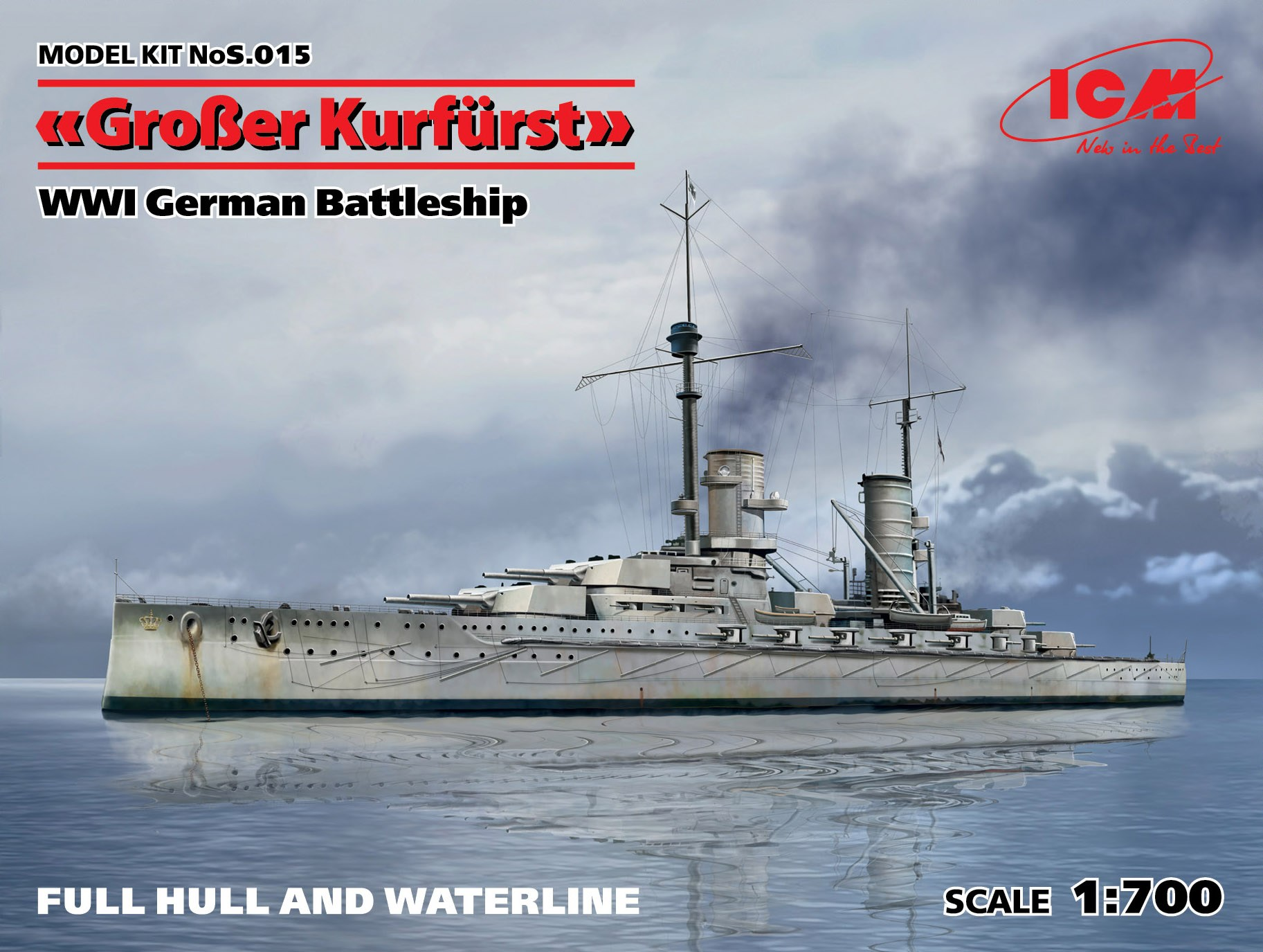 ICM Gro_er Kurfürst (full hull & waterline), WWI German Battleship