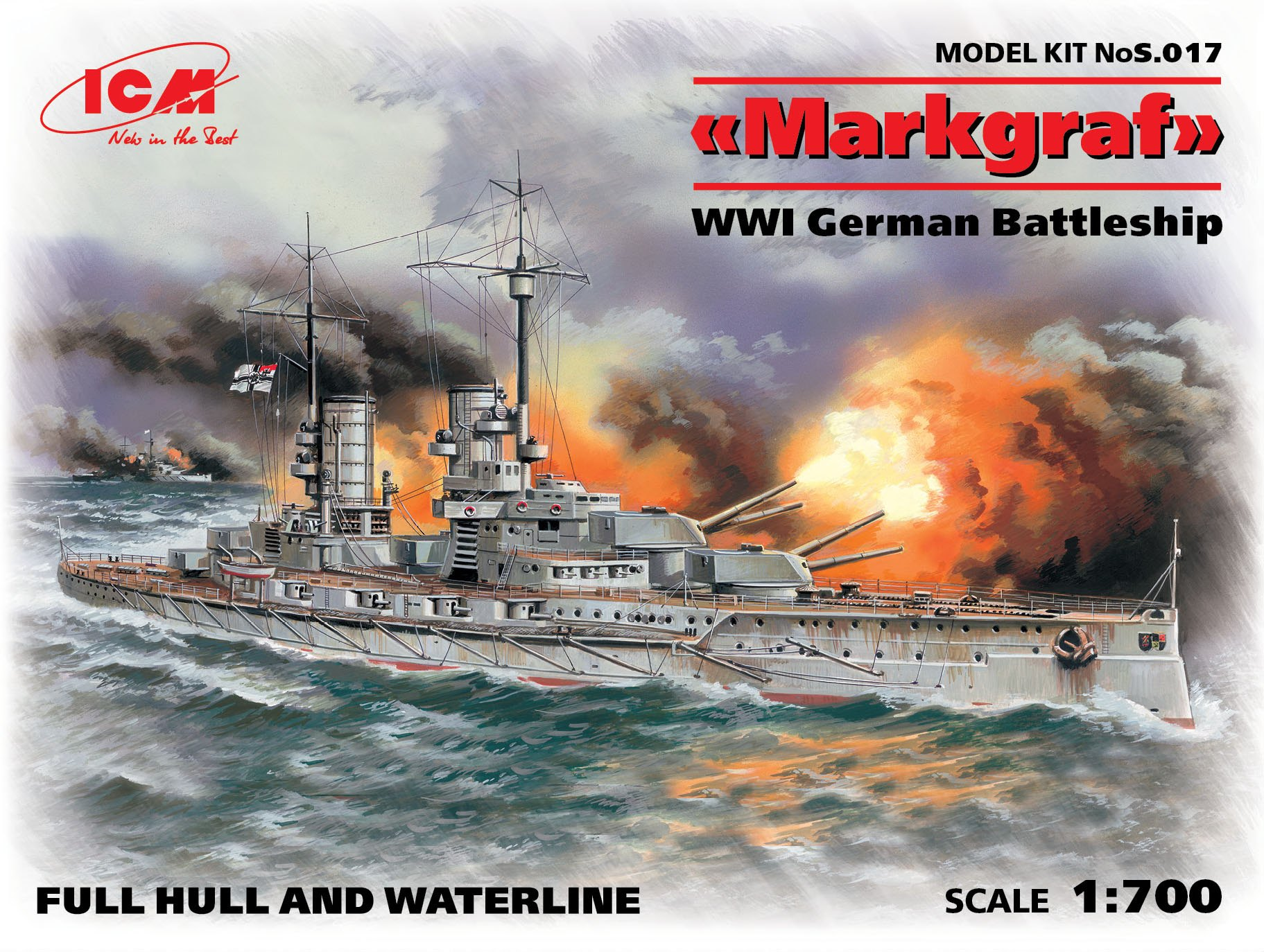 ICM Markgraf (full hull & waterline), WWI German Battleship