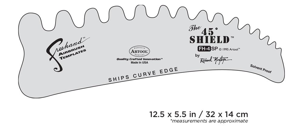 IWATA Artool #4 The 45 Shield Freehand Airbrush Template by Richard Montoya