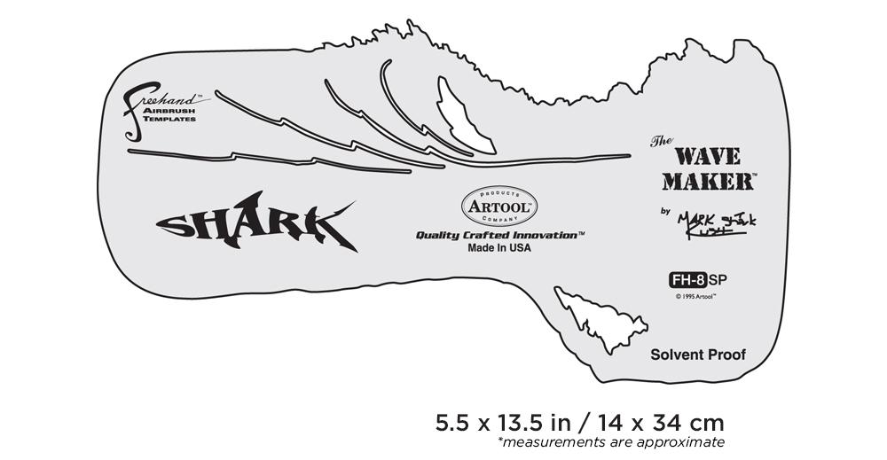 "IWATA Artool #8 The Wave Maker Freehand Airbrush Template by Mark ""The Shark"" Rush"
