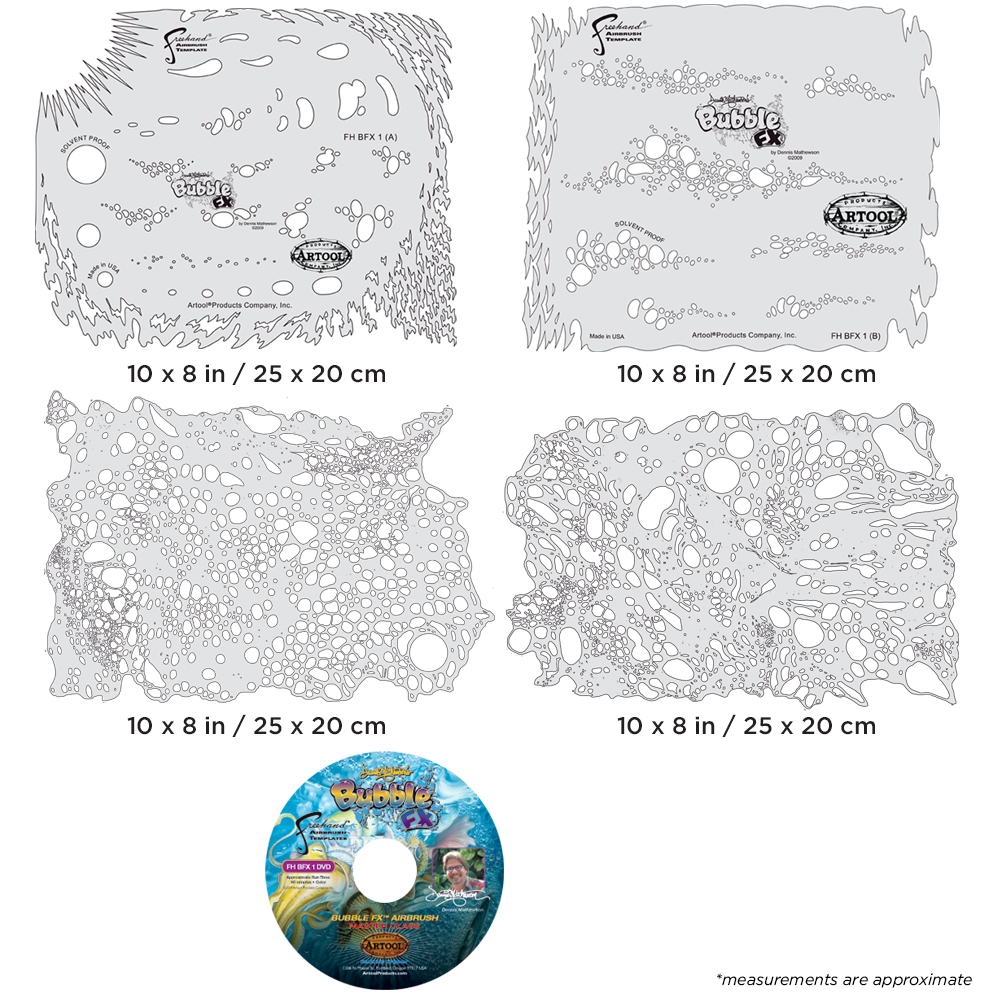 IWATA Artool Bubble FX Set Freehand Airbrush Template by Dennis Mathewson