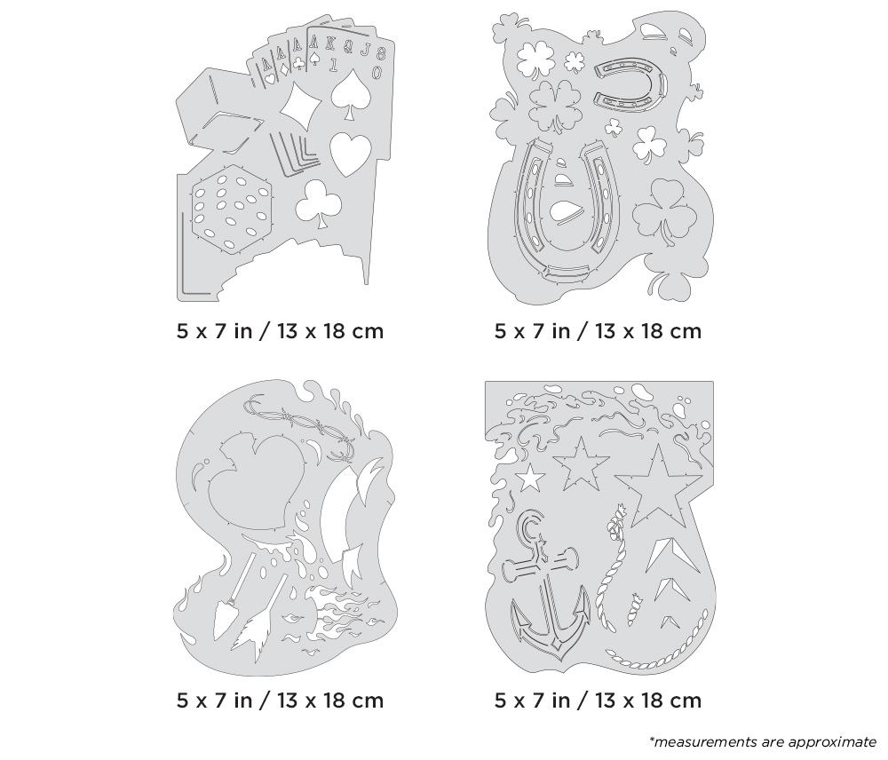 "IWATA Artool Blasted FX Mini Series Set Freehand Airbrush Template by Ryan ""Ryno"" Templeton"