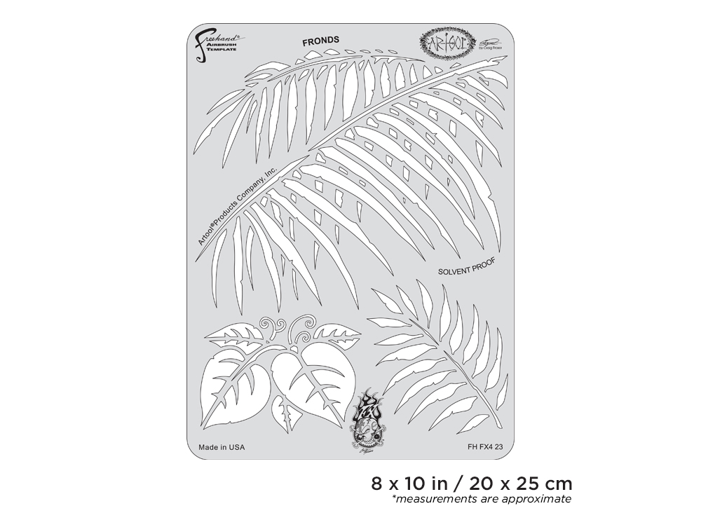 IWATA Artool FX4 Fronds Freehand Airbrush Template by Craig Fraser