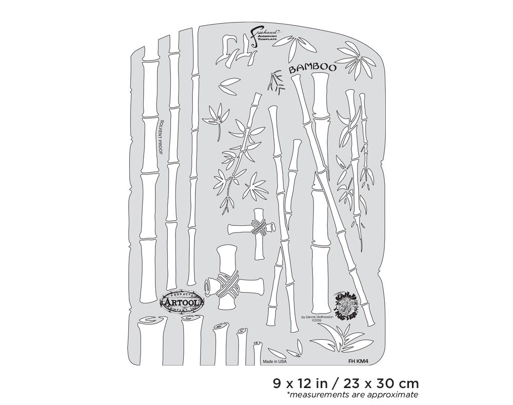 IWATA Artool Kanji Master Bamboo Freehand Airbrush Template by Dennis Mathewson
