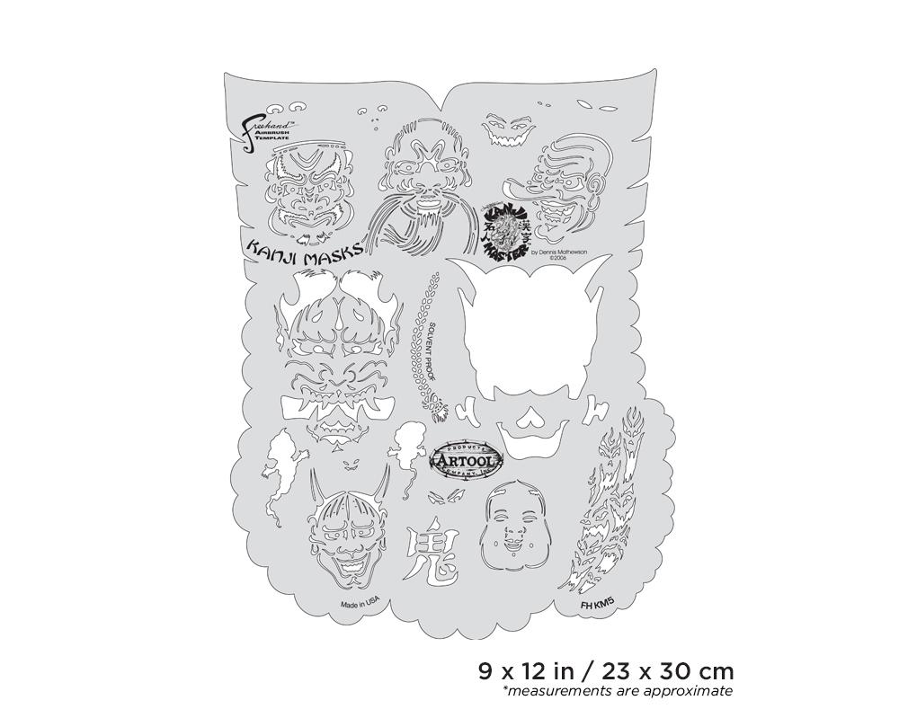 IWATA Artool Kanji Master Kanji Masks Freehand Airbrush Template by Dennis Mathewson