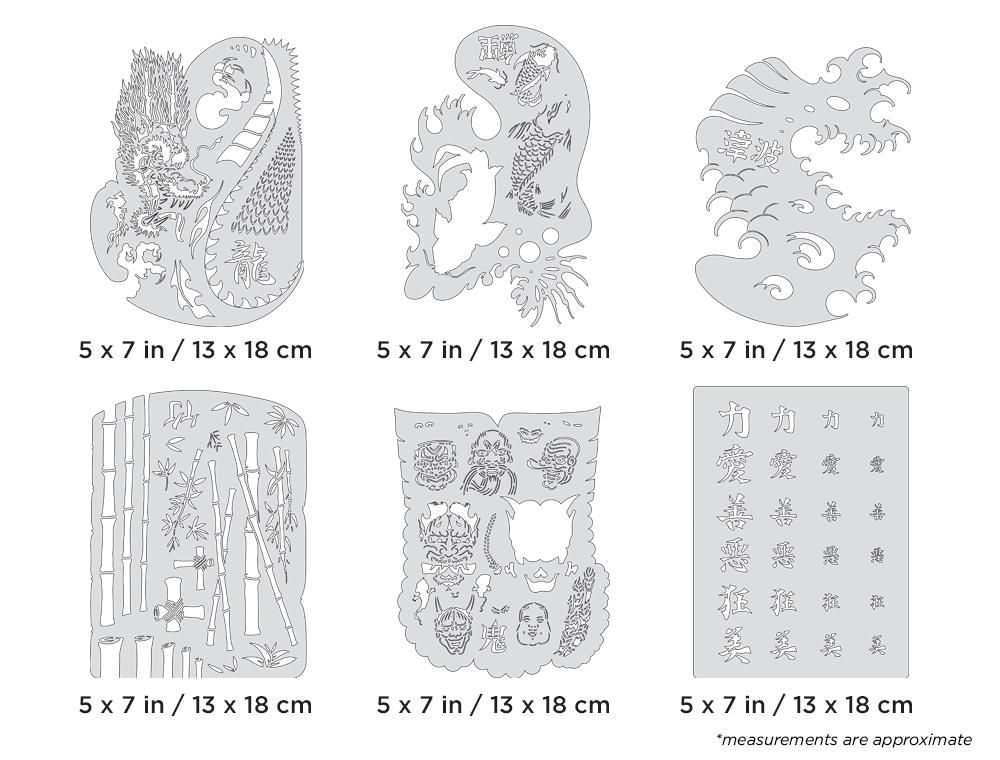 IWATA Artool Kanji Master Mini Series Set Freehand Airbrush Template by Dennis Mathewson