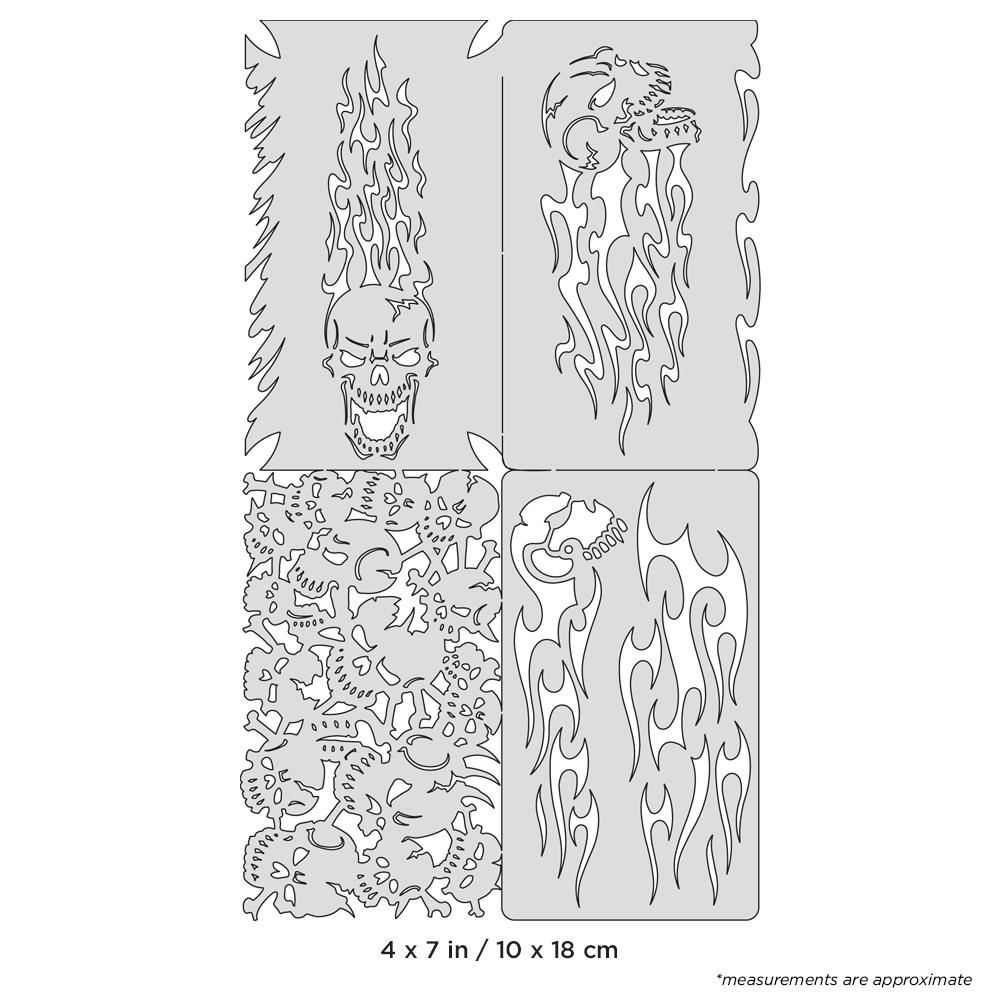 IWATA Artool Skullophenia Nano Freehand Airbrush Template by Craig Fraser