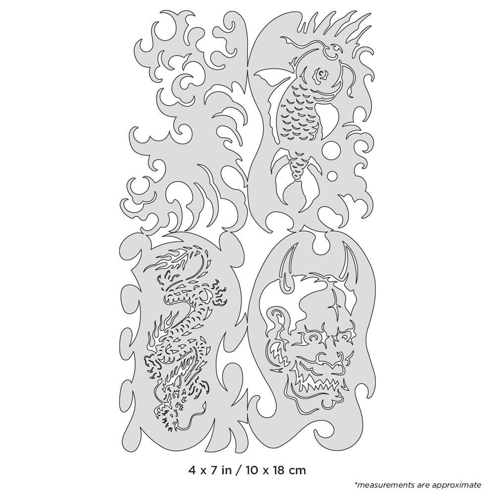 IWATA Artool Kanji Motto Nano Freehand Airbrush Template by Dennis Mathewson