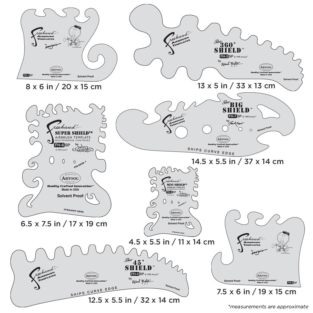IWATA Artool The Essential Seven Set Freehand Airbrush Template