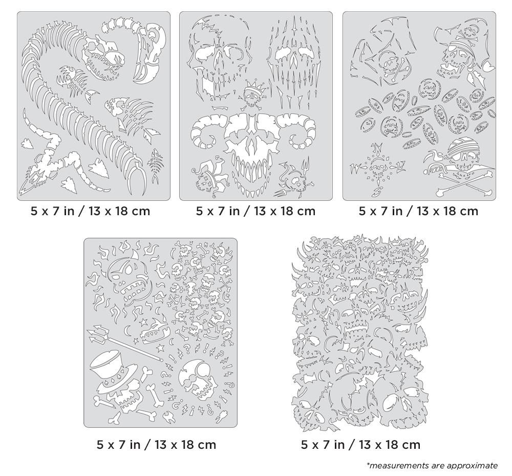 IWATA Artool Curse of Skullmaster Mini Series Set Freehand Airbrush Template by Craig Fraser