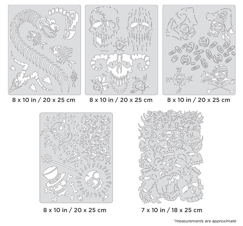 IWATA Artool Curse of Skullmaster Set Freehand Airbrush Template by Craig Fraser