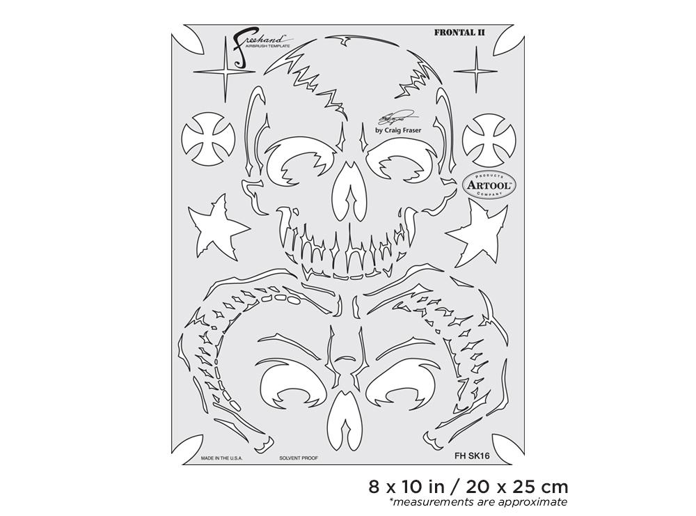 IWATA Artool Return of Skullmaster Frontal II Freehand Airbrush Template by Craig Fraser