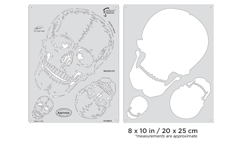 IWATA Artool Horror of Skullmaster Heads-Up Freehand Airbrush Template by Craig Fraser