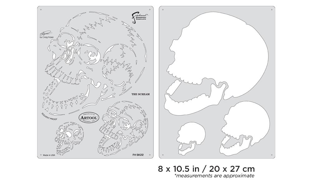 IWATA Artool Horror of Skullmaster The Scream Freehand Airbrush Template by Craig Fraser