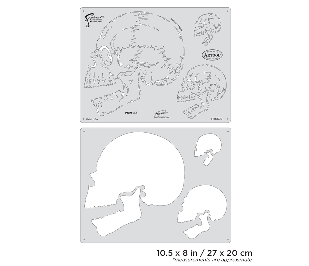 IWATA Artool Horror of Skullmaster Profile Freehand Airbrush Template by Craig Fraser