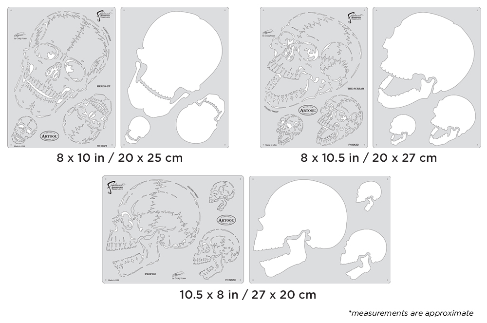 IWATA Artool Horror of Skullmaster SetFreehand Airbrush Template by Craig Fraser
