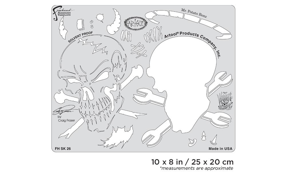 IWATA Artool Wrath of Skullmaster Mr. Potato Bonz Freehand Airbrush Template by Craig Fraser