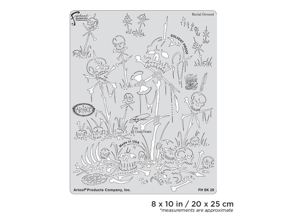 IWATA Artool Wrath of Skullmaster Burial Ground Freehand Airbrush Template by Craig Fraser