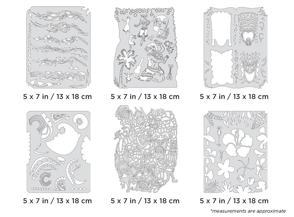 IWATA Artool Tiki Master II Mini Series Freehand Airbrush Template Set by Dennis Mathewson