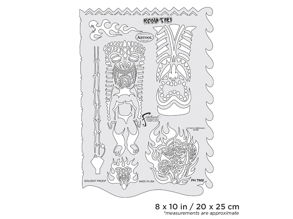 IWATA Artool Tiki Master Kona Tiki Freehand Airbrush Template by Dennis Mathewson