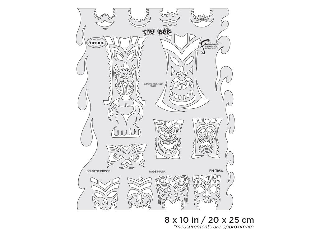 IWATA Artool Tiki Master Tiki Bar Freehand Airbrush Template by Dennis Mathewson