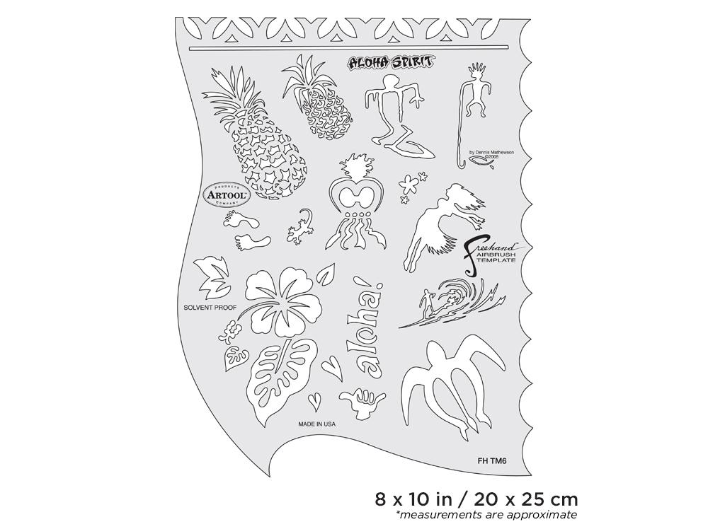 IWATA Artool Tiki Master Aloha Spirit Freehand Airbrush Template by Dennis Mathewson