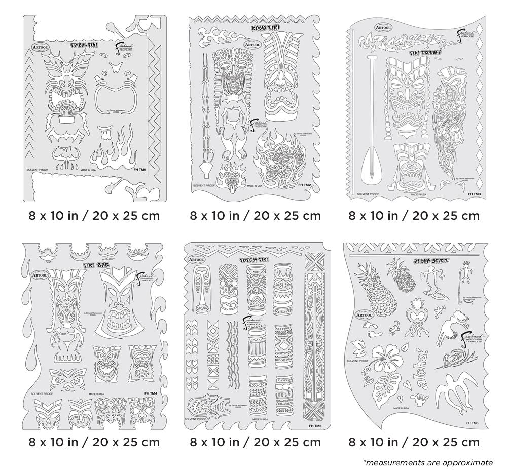 IWATA Artool Tiki Master Freehand Airbrush Template Set by Dennis Mathewson