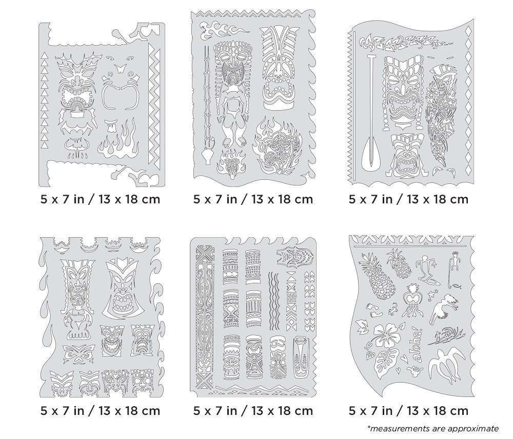 IWATA Artool Tiki Master Mini Series Freehand Airbrush Template Set by Dennis Mathewson