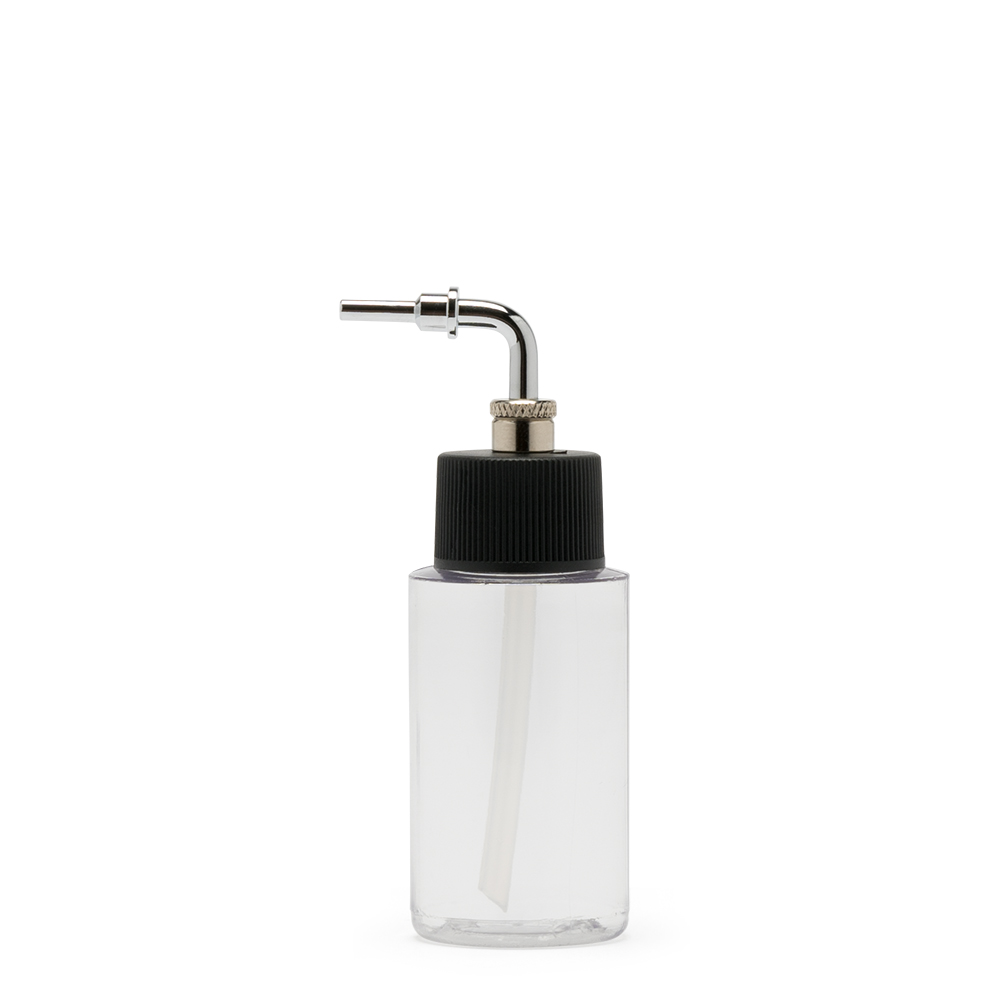 IWATA 1oz Crystal Clear Bottle 1oz / 30ml Cylinder with Side Feed Adaptor Cap