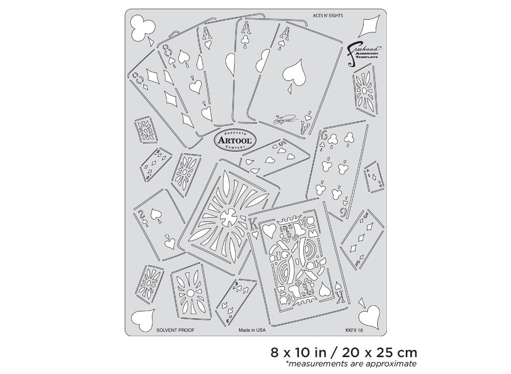 IWATA Artool Kustom Kulture Aces N' Eights Freehand Airbrush Template by Craig Fraser