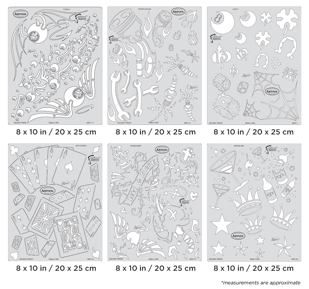 IWATA Artool Kustom Kulture Freehand Airbrush Template Set by Craig Fraser